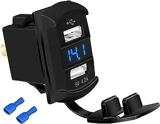 DaierTek Dual USB Socket Adapter 5V 4.2A Power Outlet Waterproof with Led Digital Voltmeter for Marine Boat Car