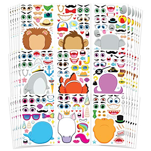 Best Price! JOYIN 36 PCS Make-a-face Sticker Sheets Make Your Own Animal Mix and Match Sticker Sheet...