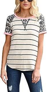 Women's Leopard Stripe Short Sleeve Tees T-Shirt Casual Round Neck Tops