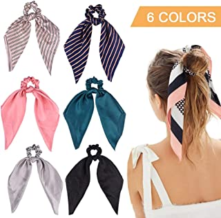 6Pcs Hair Scrunchies Satin Silk Elastic Hair Bands Hair Scarf Ponytail Holder Scrunchy Ties Vintage Accessories for Women Girls