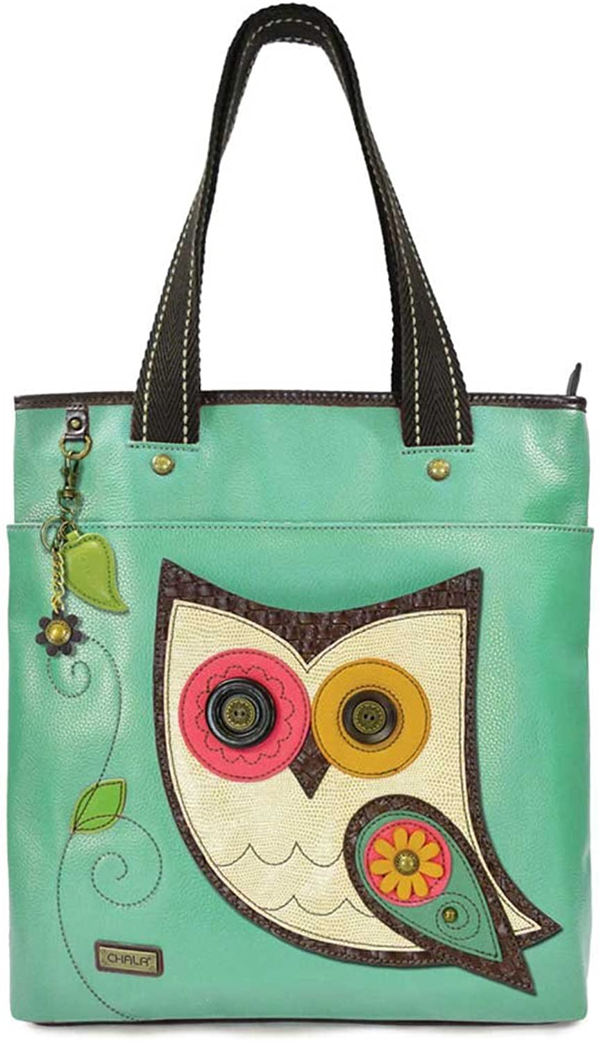Chala Every Day Zip Tote, Detachable Key Chain Charm, Faux Leather, Canvas Handles, Animal Prints
