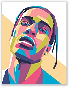 ASAP Rocky Poster - Hip-Hop Wall Print for Bedroom Decor - Geometric Portrait - Gift for Him (11x14)