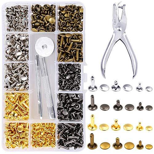EEIEER 360 Sets 3 Größen Leder Nieten Doppelkappe Rivet Tubular Metall Ohrstecker mit 4 Werkzeuge Zange /Setzer für DIY Lederhandwerk kleidung (Gold, Silber,Messing und Gunmetal)
