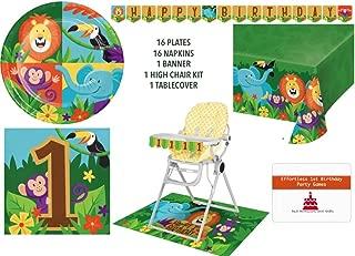 Jungle Animal Safari 1st Birthday Tableware Serves 16 - Safari Party Supplies Pack Dinner Plates, Napkins, Banner, High Chair Kit, and Table Cloth