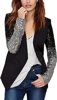 Romacci Women's Blazer Jacket Sparkle Sequin Button Long Sleeve Patchwork Suit Top Coat Black