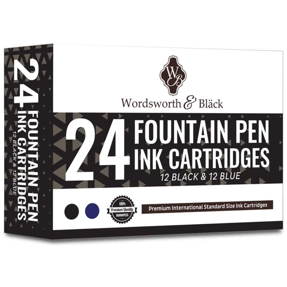 Disposable and Generic Wordsworth /& Black Fountain Pen Ink Refills 15 Blue Ink Cartridges Set of 15 Black Length APPR 5.2 cm Base Diameter APPR 0.6 cm International Standard Size