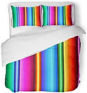 Tarolo Bedding Duvet Cover Set Blue Serape Mexican Pattern Colorful Rainbow Latin Ethnic Crayon American 3 Piece Twin 68