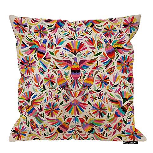 HGOD DESIGNS Mexican Design Colorful Pigeons Pheasant Pillow Case 18' X 18' Cotton Linen