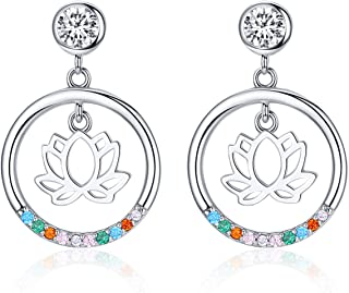 Sterling Silver Dangle Earrings for Girl Teens, Lotus Flower Studs Chic Round Earrings Set with Cubic Zirconia Stud Earrings