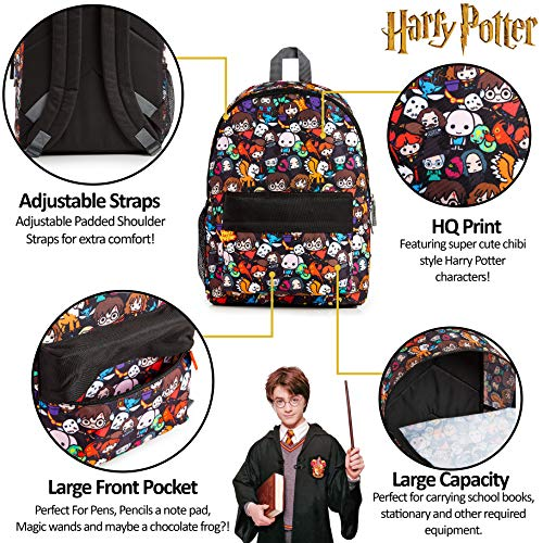 Harry-Potter-School-Bag-Backpacks-for-Girls-Boys-with-Chibi-Character-Print-School-Supplies-for-Kids-Large-Rucksack-for-School-Travel-Harry-Potter-Gifts-for-Boys-Girls-Teenagers