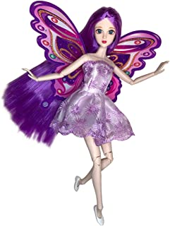 Eledoll Lilly Purple Hair Fairy Doll with Wings Deluxe Collector Doll 1/6 Scale 3D Inset Eyes 11.5 inch Fully Poseable Doll BJD Ball Jointed Doll Fashion Doll
