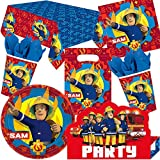 101-tlg. Party-Set * FEUERWEHRMANN SAM * für Kindergeburtstag + Motto-Party mit Teller + Becher + Servietten + Einladungen + Tischdecke + Tüten + Ballons + Luftschlangen | Kinder Geburtstag Feuerwehr