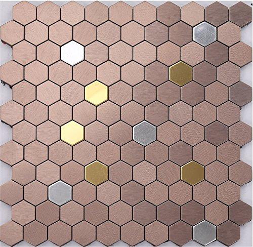 Stile classico Esagono Mosaico autoadesivo alluminio Mosaico peel&stick Colore facoltativo 300*300mm--Cucina Backsplash/Parete da bagno/decorazione domestica(K41)