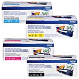 Brother Genuine TN315BK, TN315C, TN315M, TN315Y High Yield Color Laser Black, Cyan, Magenta and Yellow Toner Cartridge Set
