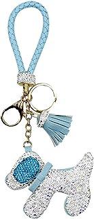 Shiny Rhinestone Leather Tassel Keychain Stuffed Animal Dog Car Key Ring Clip Purse Charms Pendant
