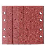 50 Pezzi Fogli Abrasivi per Levigatrice Orbitale 93 x 185 mm, Grana 40 60 80 120 180, 8 Fori Carta Abrasiva Vetrata con Velcro per Bosch Levigatrice / Smerigliatrice