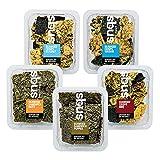 Snaqs Snacks salados Vegetarianos - alimentos deshidratados - Paquete mixto de snacks de algas crujientes, 4 Crisps de algas a la sal del mar, 3 Algas con nueces, 3 Algas con pimiento rojo 90292