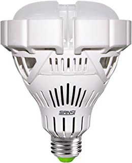 SANSI BR30 30W 250w-200w Equivalent LED Light Bulb, 6500K Cool White, 3000 lumems, CRI 80, Non-dimmable, E26 Base, Flood Light for Garage Basement Factory Warehouse Church Barn Sport Hall
