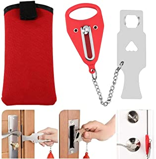 LGNTXDC Universal Strong Secure Portable Door Lock for Hotel Home Safety Privacy Protector, Red
