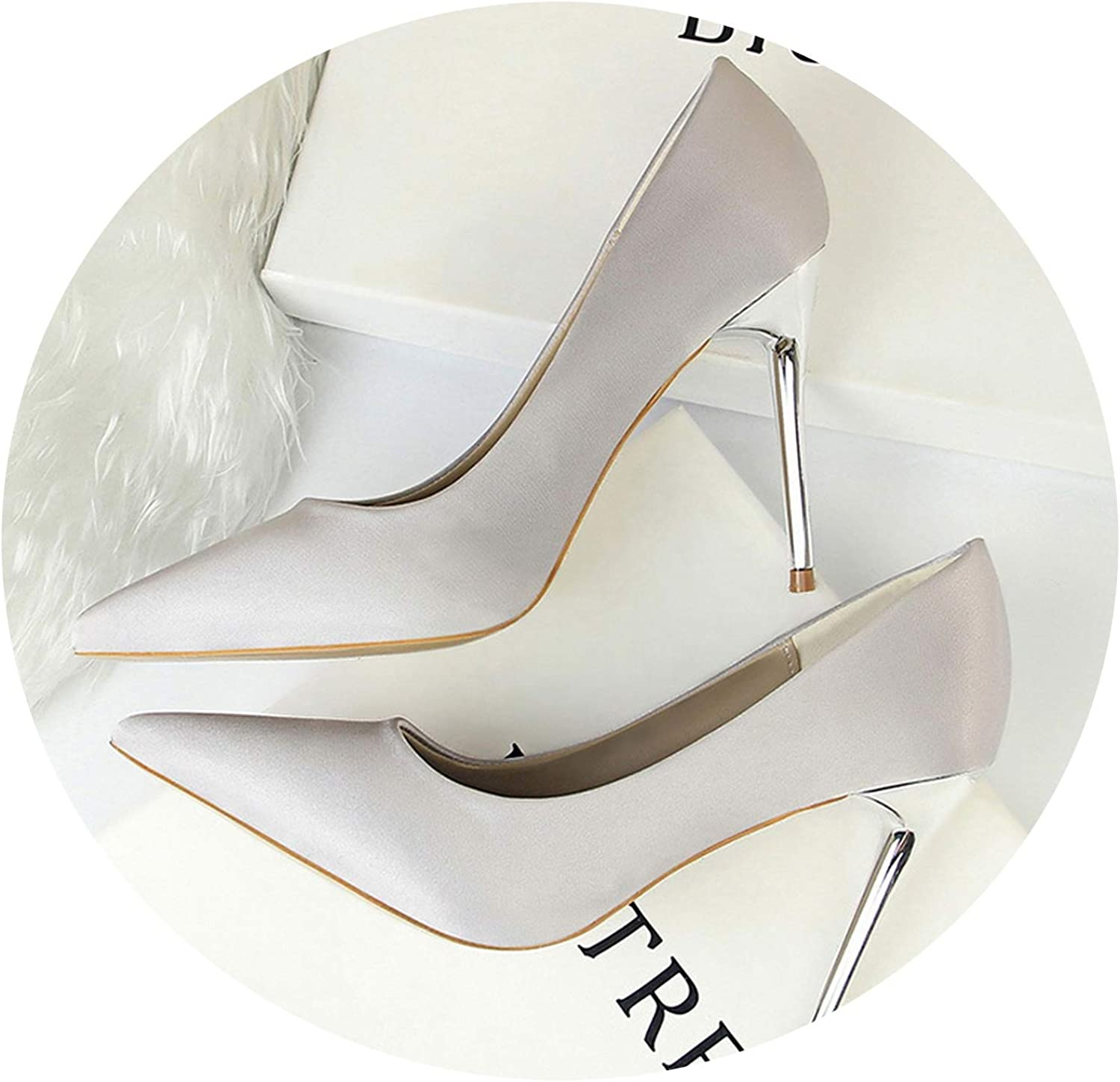 Women Pumps shoes Pointed Toe Office Women's shoes Solid Flock High Heels shoes