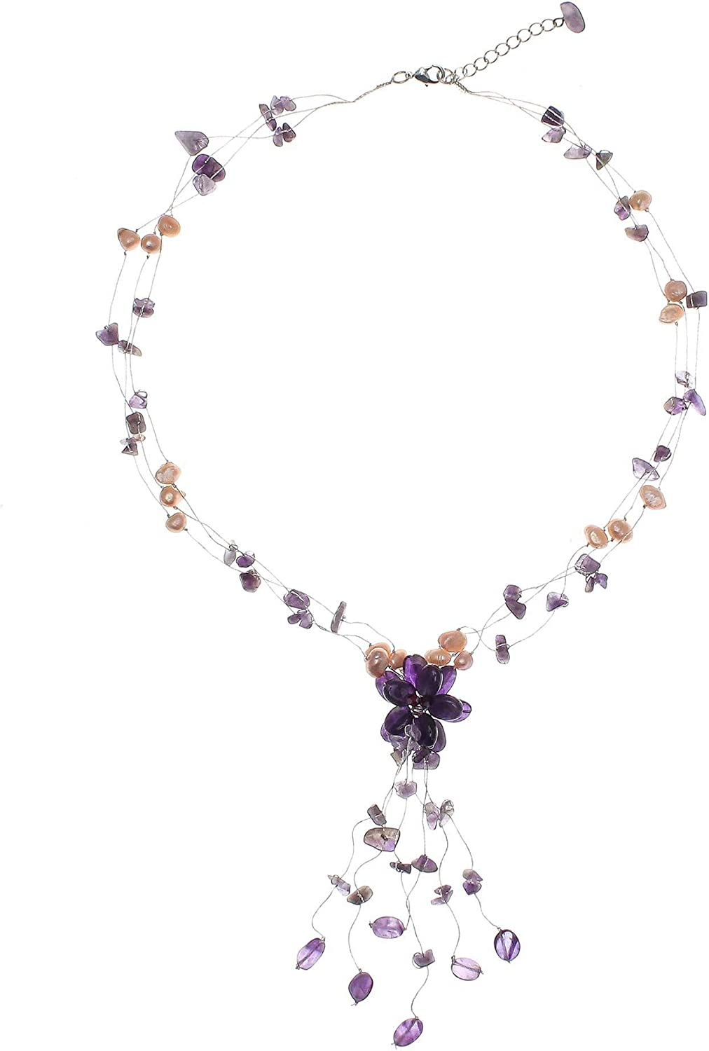 NOVICA Amethyst and Cultured Freshwater Pearl Beaded Necklace with Flower Pendant, Adjustable Length, Fantasy'