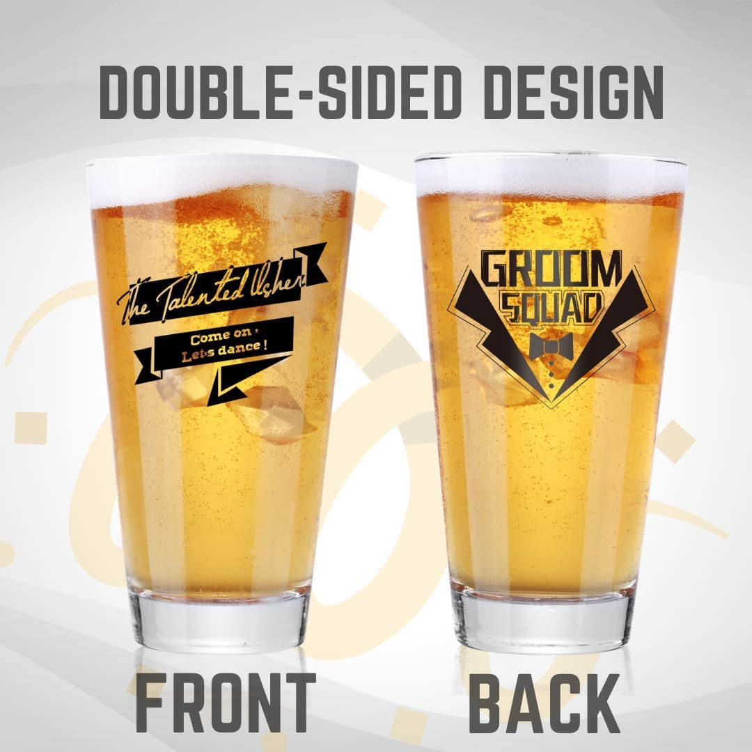 Funny Groomsmen Beer Glass for Wedding or Proposal 7/Phrases to Match Different Types of Groomsmen Pint Glass Set with Proposal Card /& Ace of Spades Bottle Opener The Hunger Bro