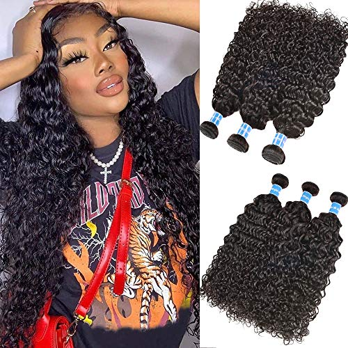 Malaysian Water Wave Bundles Wet and Wavy Hair 3 Bundles 100% Unprocessed Virgin Human Hair Extensions 100g per Bundle Double Wefts Natural Black (16 18 20)