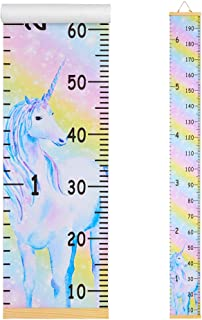 Beinou Wall Growth Chart Wood Frame Height Measurement 7.9'' x 79'' Canvas Hanging Wall Scale Rulerfor Kids and Adults Rainbow Unicorn Wall Decor Height Measure Chart