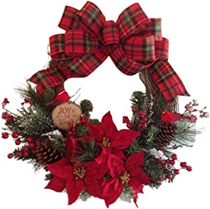 blue--net 30CM Christmas Wreath for Front Door, Artificial Pine Cone Berry Bow-Knot Pine Leaves Garland Door Hanging Decorative Supplies for Christmas Party Decor (11.81inch)
