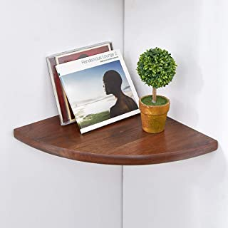 Wood Corner shelves , Sunlife 10 inch 1PCS Rustic WALNUT Floating Wall Shelves Round End Wall Mounted Shelving Solution Floating Speaker Display Bookshelves Décor Accents Bathroom