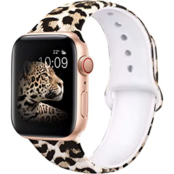 EXCHAR Compatible with Apple Watch Band 44mm Series 4 42mm Series 3/2/1 Fadeless Pattern Printed Floral Bands Silicone Replacement Band for iWatch Series 6/5 for Women Men S/M Leopard 01