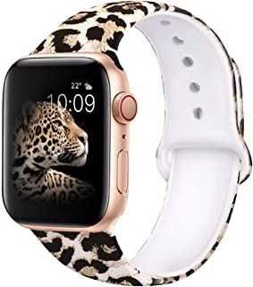 EXCHAR Compatible with Apple Watch Band 44mm Series 4 42mm Series 3/2/1 Fadeless Pattern Printed Floral Bands Silicone Rep...