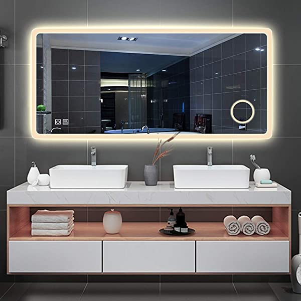 Rectangle LED Lighted Bathroom Wall Mounted Mirror Vanity Makeup Illuminate Explosion Proof Mirror Stepless Dimming Touch Button Anti Fog 3X Magnification IP44 Waterproof