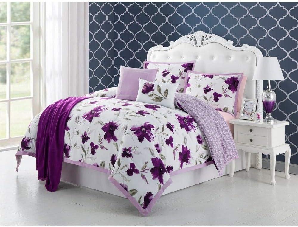 HNU Modern Max 43% OFF Designer Floral Purple Set Lilac Comforter Queen Size Superior