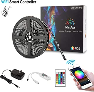 Nexlux LED Strip Lights, WiFi Wireless Smart Phone Controlled 16.4ft Waterproof Light Strip LED Kit 5050 LED Lights,Working with Android and iOS System,Alexa, Google Assistant