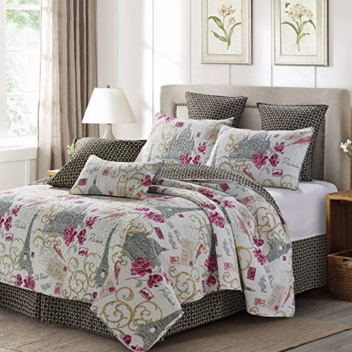 Quilt Bedding Set in King by Virah Bella - Paris Love Printed Lightweight Reversible Quilt with 2 Matching Pillow Shams - Cozy & Beautiful Contemporary-Themed Bedding