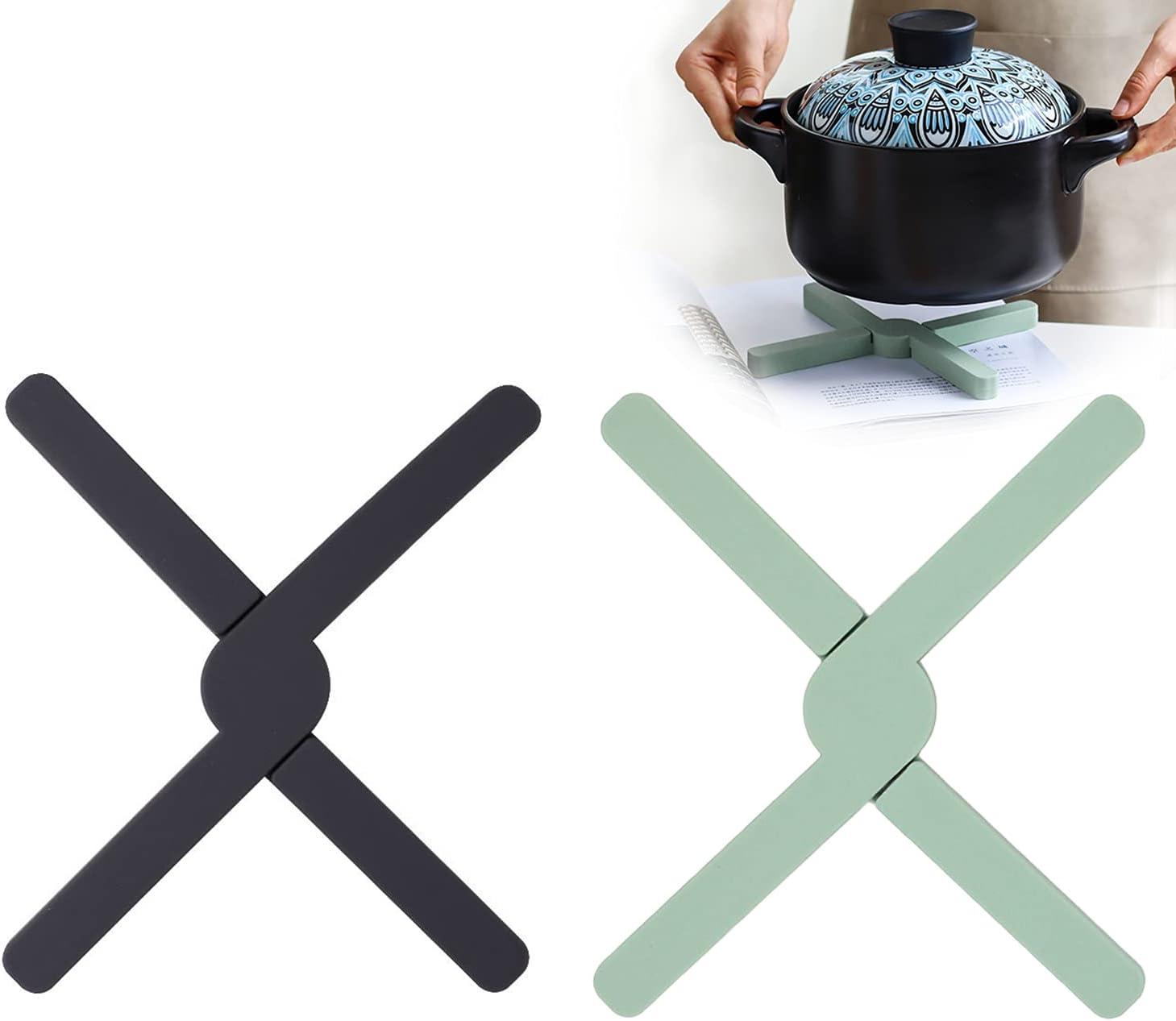 BOJLY Set di 2 Salvamanteles de Siliconapara ollas calientes, Plegable y antideslizante, Resistente al calor hasta 430°F, Apto para Lavavajillas