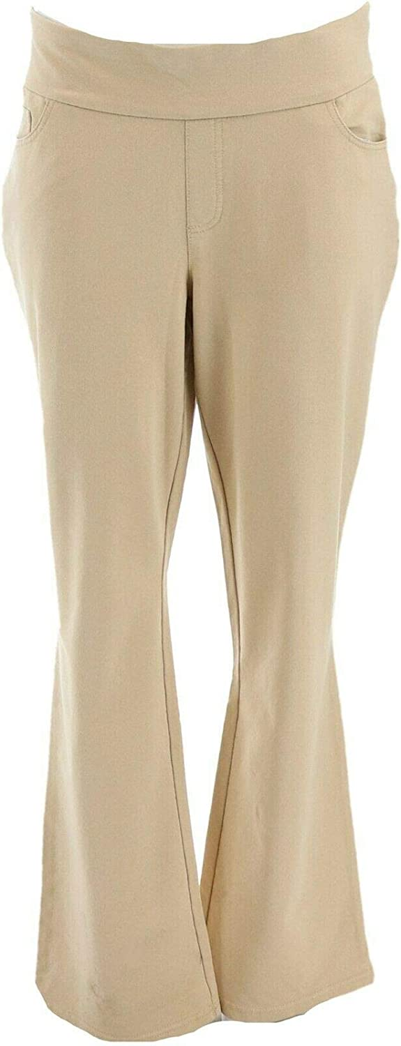 Denim & Co. Comfy Knit Lightly Boot-Cut Jeans Classic Beige 20W New A309729