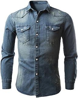 93dd35bcd5d LMMVP Camisas para Hombres Moda Retro Personalidad Clásico Botón Ajustado  Delgado Negocio Casual Camisetas de Manga