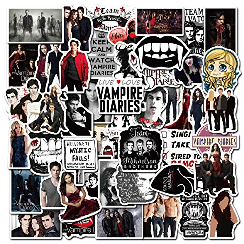 The Vampire Diaries Laptop Stickers for Adult, 50 Pcs/Pack Classic Movie Waterproof Vinyl Water Bottle Computer Notebook Car Skateboard Motorcycle Bicycle Luggage Guitar Decal (The Vampire Diaries)