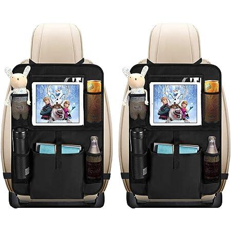 Auto Rückenlehnenschutz Opamoo 2 Stück Auto Rücksitz Organizer Für Kinder Große Taschen Und Ipad Tablet Fach Wasserdicht Autositzschoner Kick Matten Schutz Für Autositz 2x64x43 Cm Auto