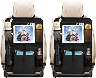 Auto Rückenlehnenschutz, opamoo 2 Stück Auto Rücksitz Organizer für Kinder, Große Taschen und iPad /Tablet Fach, Wasserdicht Autositzschoner, Kick Matten Schutz für Autositz (2x64x43 cm)