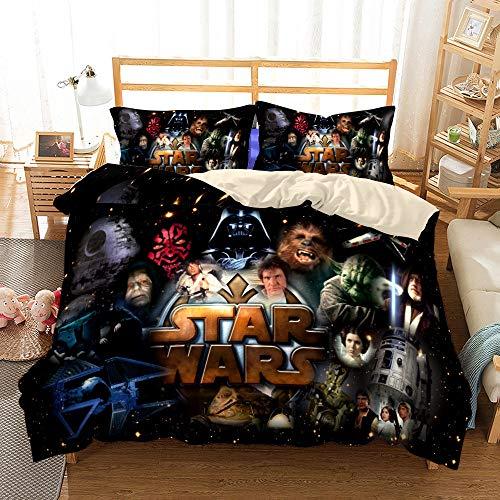 BLSM Star Wars - Juego de cama de 3 piezas con funda de edredón 3D - Juego de 3 piezas (funda nórdica + 2 fundas de almohada), 100 % microfibra (A16,200 x 200 cm)