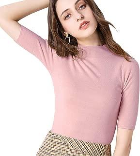 Women's Short Sleeve Mock Pullover Sweater Knit Jersey Top Slim Fit