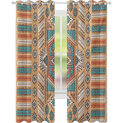 Cortinas para dormitorio, diseño de tribu secreta azteca en estilo bohemio nativo americano, ancho 52 x largo 108 cortinas opacas para habitación de niños, albaricoque, naranja y verde azulado