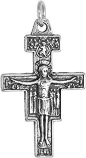 Sterling Silver San Damiano Crucifix Necklace Antique Finish 1 1/4 inch