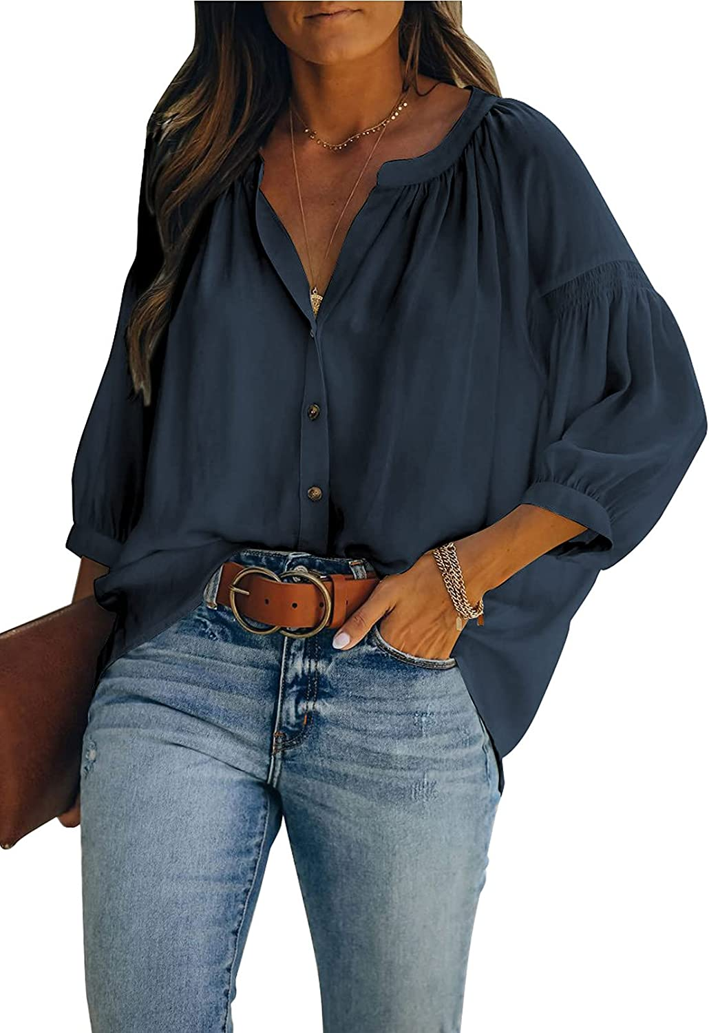 LUOLON Women V-Neck Button Down Blouses 3/4 Sleeve Tunics Casual T-Shirt Loose Fit Tops