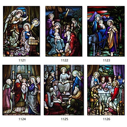 ZKAMANG Buntglasfolie Vater Herr Jehova, Gott Jesus Türaufkleber, Christus Jungfrau Maria Glasfolie 45X60Cm 1122