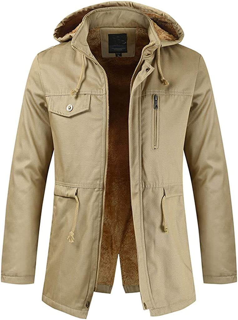 DIOMOR Classic Fleece Lining Full Zip Hooded Down Coat for Men Outdoor Multi Pockets Windbreaker Jacket Parka with Belt