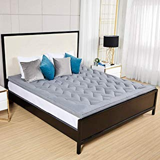Duck & Goose Co Hotel Plush Mattress Topper, Z Style Down Alternative Fill Quality Bed Topper - King Size Grey